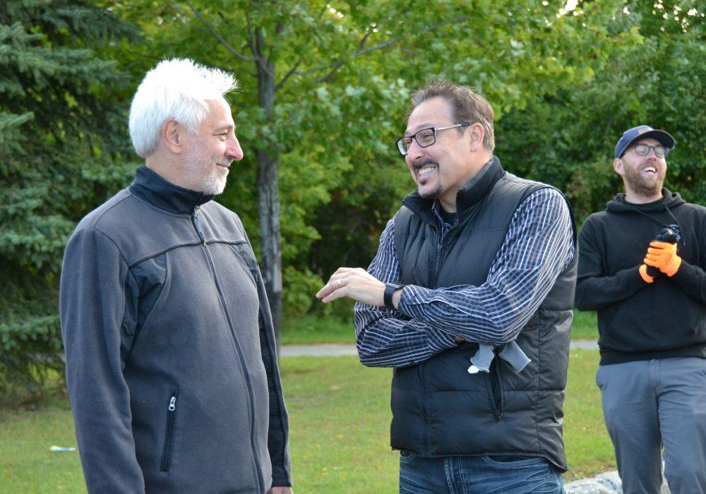 Rivière Saint-François, Sherbrooke, 2018, avec Steve Lussier (à droite) maire de Sherbrooke en 2018