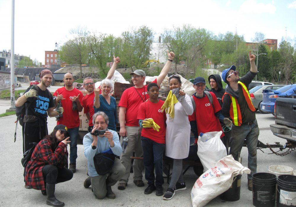 Rivière Saint-François, Sherbrooke, 2019, avec les employés de CGI